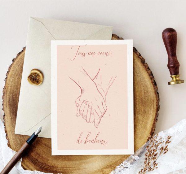 carte mains enlacées